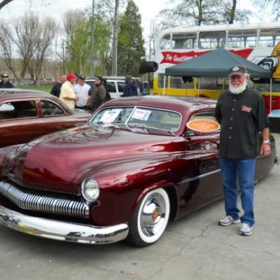 Custom car collector Joe Proski stands with his award-winning 1950 Merc at the Goodguys All American Get Together. (Photo: Goodguys)