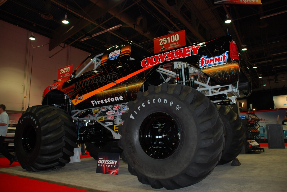 Odyssey Battery rolls out its No. 20 monster truck at SEMA.