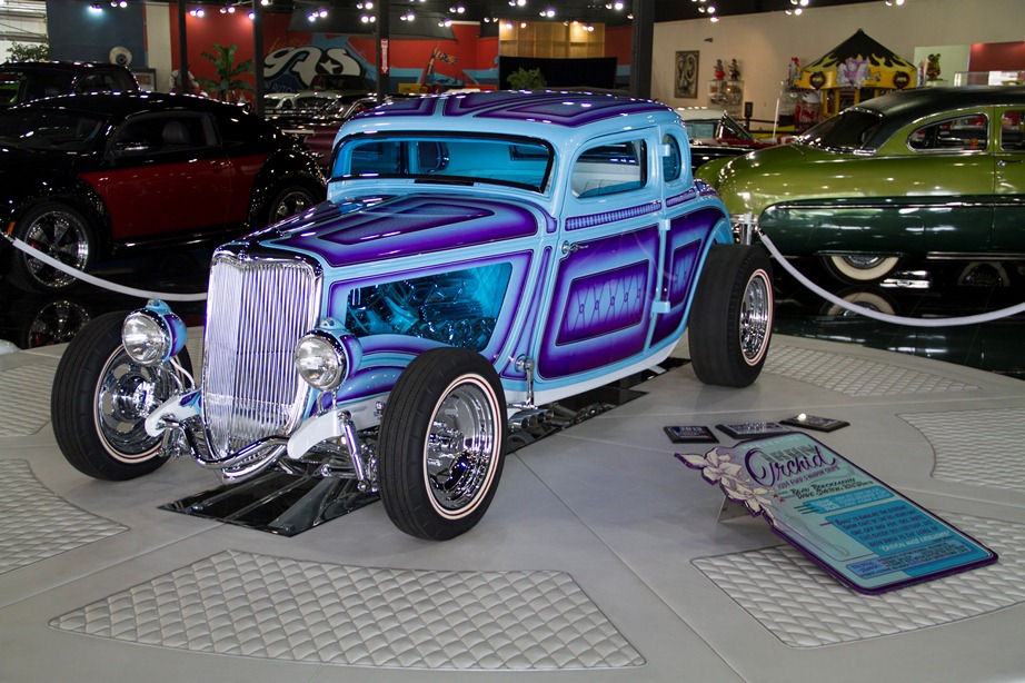 A '34 Ford Coupe turned striking chromed masterpiece.