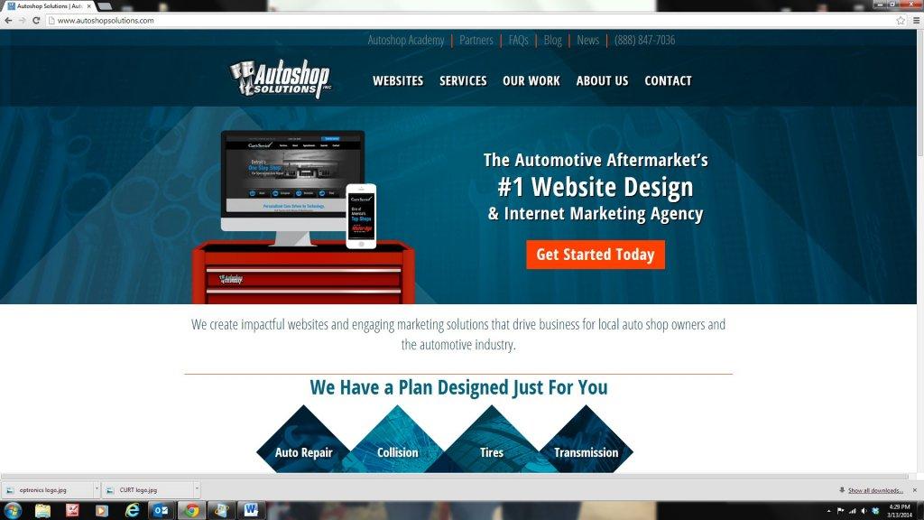Autoshop Solutions new website screenshot