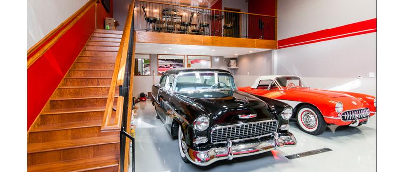 A classics-dedicate garage at Iron Gate Motor Condos in Naperville, Illinois