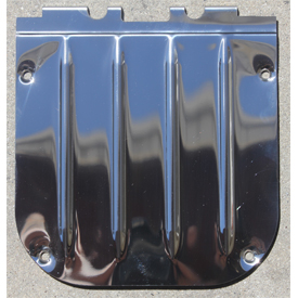 Polished stainless steel reproduction latch covers for 1955-57 Chevy and Pontiac station wagons by Real Deal Steel