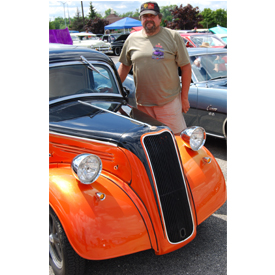 Terry Olson, owner of Anglia Brokers, which specializes in Anglia builds and parts, among other bespoked rides