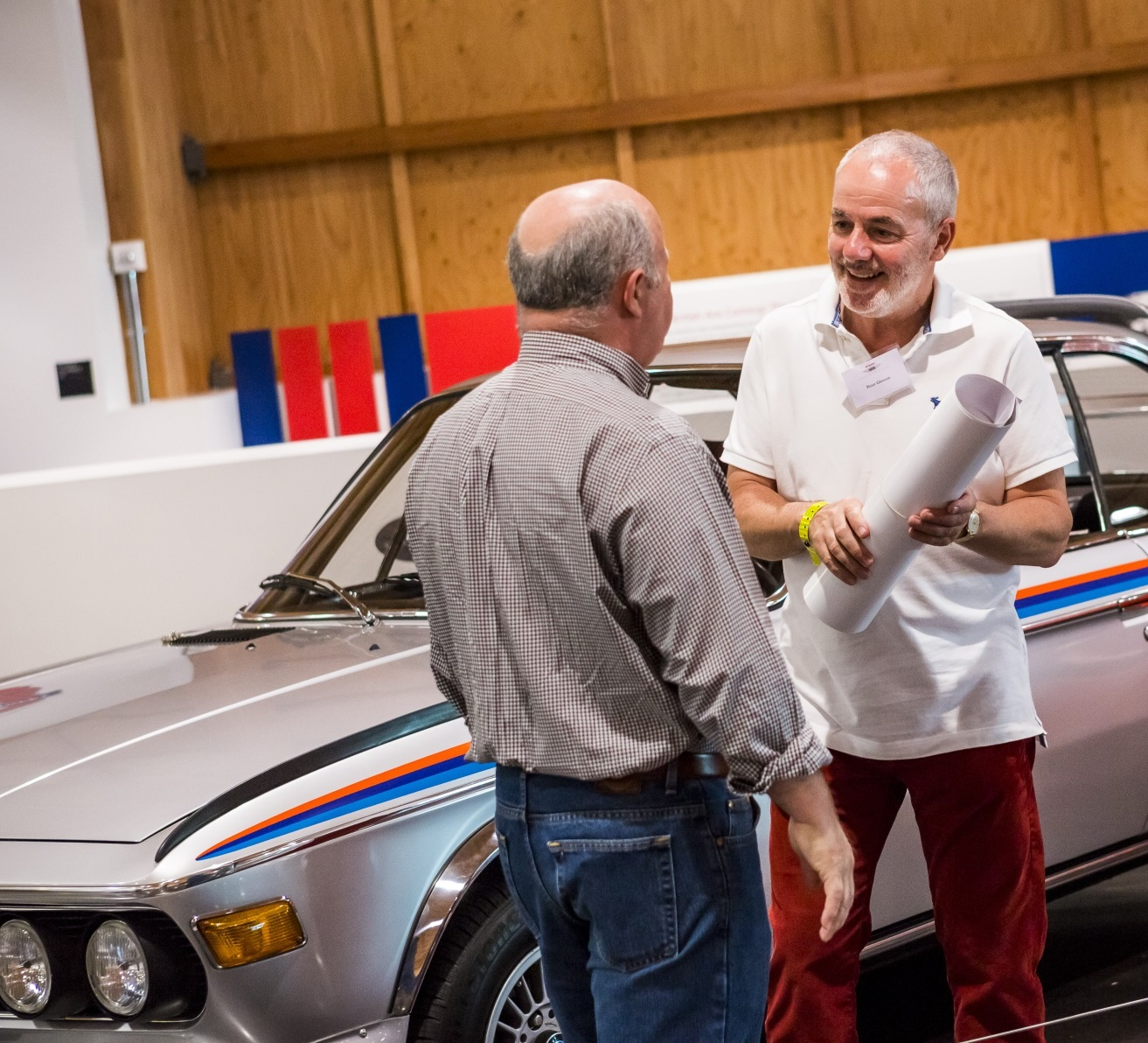 Peter Gleeson, on the right, with his 1973 BMW 3.0 CSL Batmobile in the background