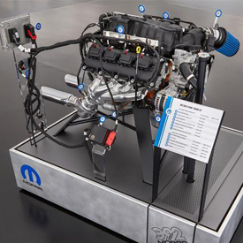 "This ""exploded"" view of a 6.4-liter HEMI engine highlights the components of the new Mopar 392 Crate HEMI Engine Kit, which allo"