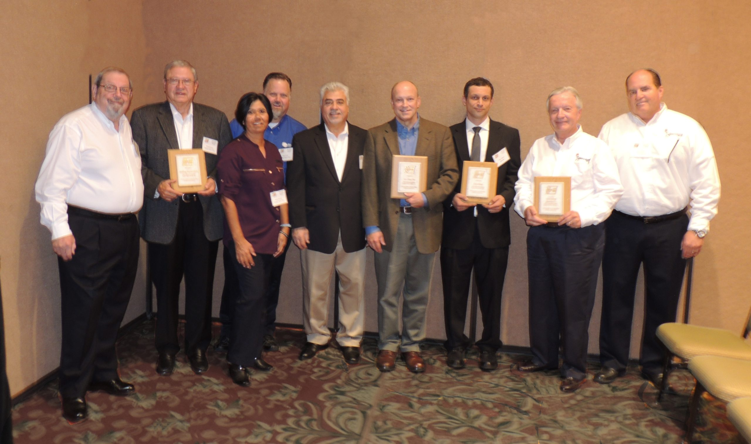 Engine Pro honored top suppliers at a recent shareholder meeting. Pictured left to right: Don Weber, Engine Parts Group; Bill Mc
