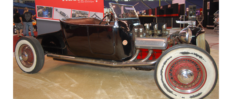 The flathead powered 1924 Model T roadster hot rod built in 1939 was a super sight inside Indianapolis' Lucas Oil Stadium.