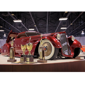 The heavily modified 1936 Packard Mullholland Speedster was built by Troy Ladd of Hollywood Hotrods