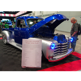 Retro Manufacturing's 1952 Chevy pickup seen at the Nov. 1-4 SEMA Show at the Las Vegas Convention in Las Vegas