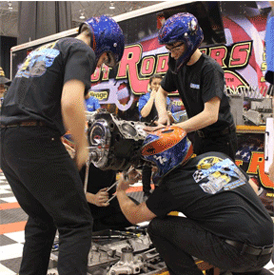 The action during the Hot Rodders of Tomorrow (HROT) Engine Challenge event at the Summit Piston Powered AutoRama in Cleveland t