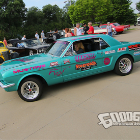 Car brandished with KICKER branding at the Goodguys stop in Stillwater, Oklahoma last week