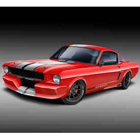 Rendering of the Pro-Touring 1966 GT350CR Shelby Mustang by Classic Recreations