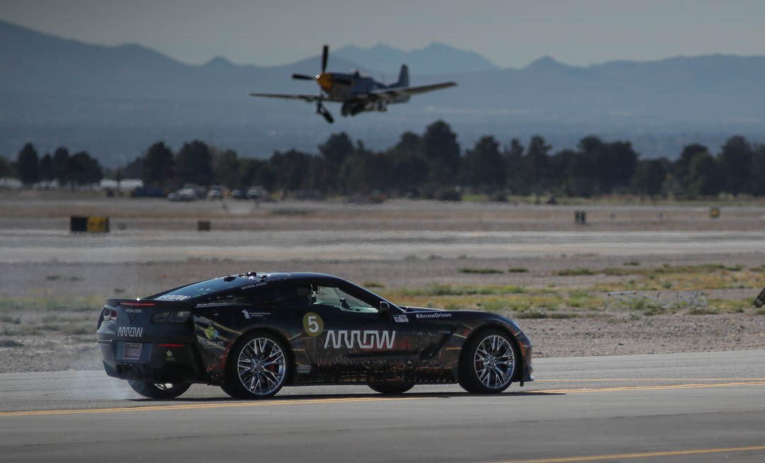 Sam Schmidt driving the Arrow Electronics SAM car at Aviation Nation, the annual airshow hosted by the U.S. Air Force at Nellis