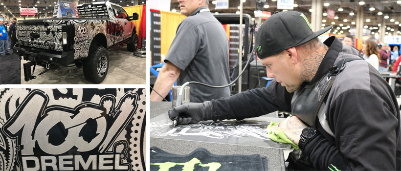 Hank Robinson uses a Dremel engraving tool to carve his custom designs into vehicles
