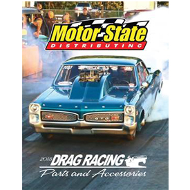 The cover page of Motor State's Drag Racing Parts & Accessories catalog. Access the catalog today by visiting http://online.flip