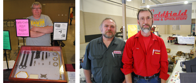 Goldfield Trim & Upholstery booth (right) and R.V. Anderson (left) at the March 16-17 at the Chickasha Prewar Swap Meet in Oklah