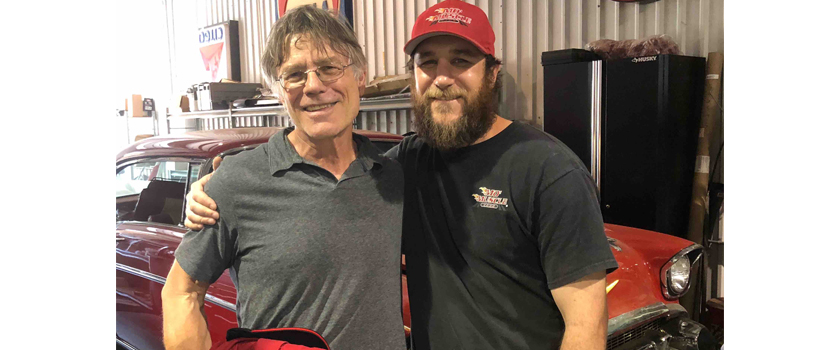 Eddie Wieber (left) and Blake Meaux, owner of Mo' Muscle Cars