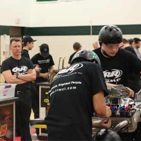 Team R&R Marketing from York County School of Technology races the clock during Hot Rodders of Tomorrow competition as instructo
