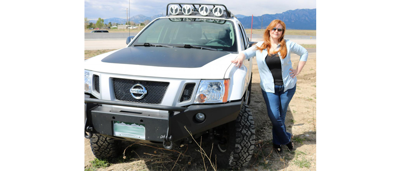 "Wendy Miles and her 2013 Nissan Xterra Pro-4X, affectionately named ""Boris"""