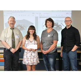 Lexi Davis, middle-left, won ididit's T-shirt design contest for a shirt to be offered at its car show and open house in Septemb