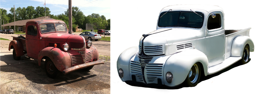 Middleton, Wisconsin-based Cool Hand Customs is restoring and customizing a 1940 Dodge truck for the SEMA. Show. Left photo show