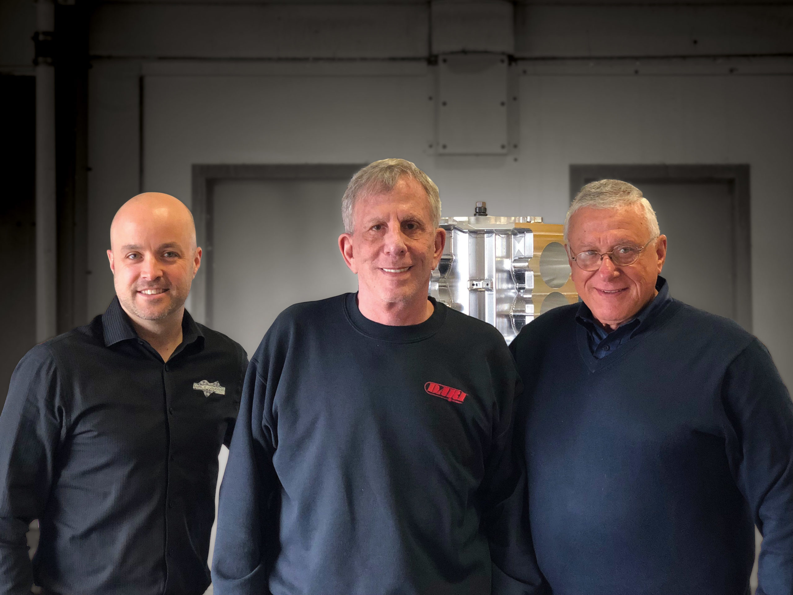From left to right: Brian Reese, Race Winning Brands CEO; Richard Maskin, Dart Machinery's founder; and Bob Romanelli, Race Winn