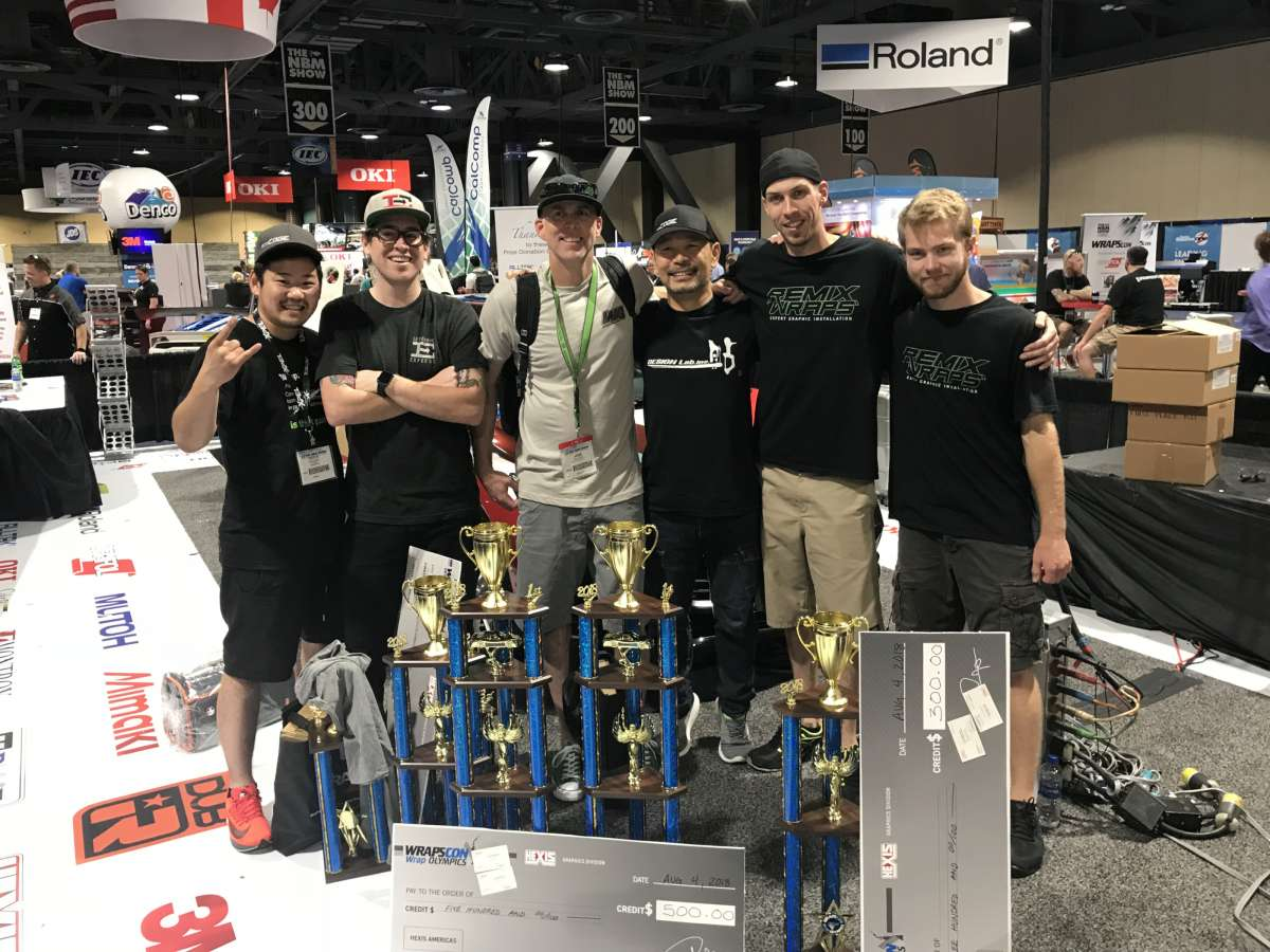 The top three finishing teams at the 2018 WRAPSCON Wrap Olympics. From left to right: Keiichi Hasegawa of Team Samurai; Charlie