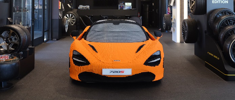 LEGO McLaren 720S featured in P Zero World, the first Pirelli flagship store in the world.