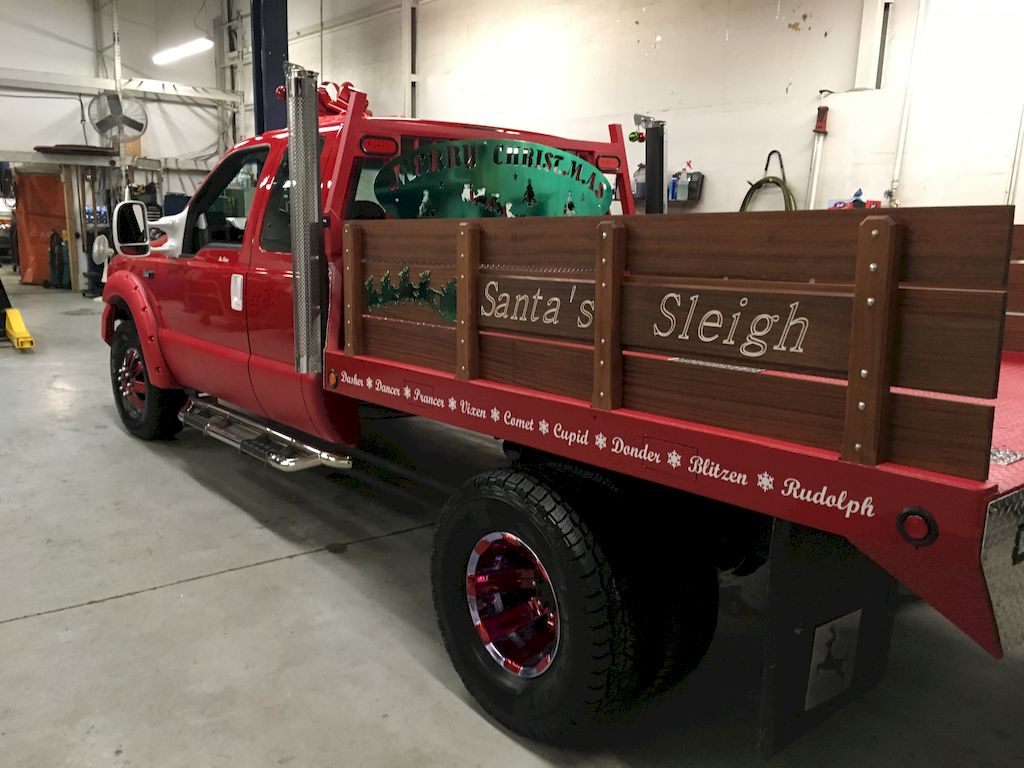 "Bill Lee's new ""sleigh,"" a custom truck build led by Bodacious Diesel, based in Golden, Colorado."