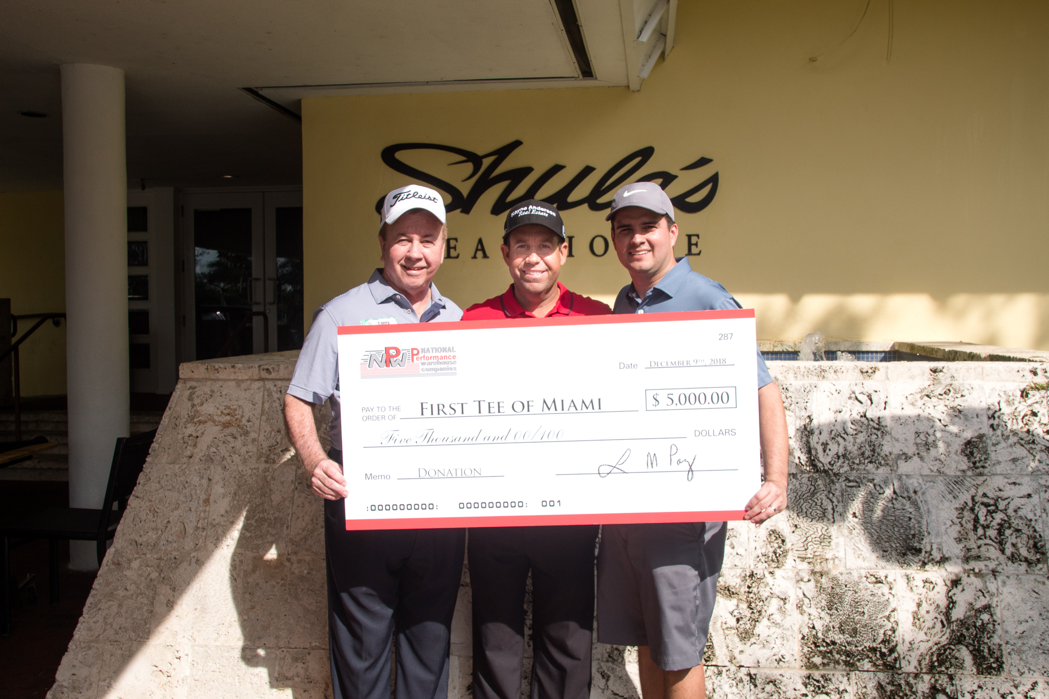 NPW raised $5,000 for First Tee Miami during a charity golf tournament in December.