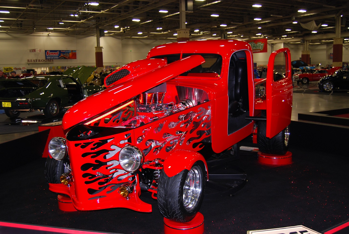 This wild 1942 Dodge truck called Mirror Image was featured at WOW with plasma-cut flames in the hood sides and grille
