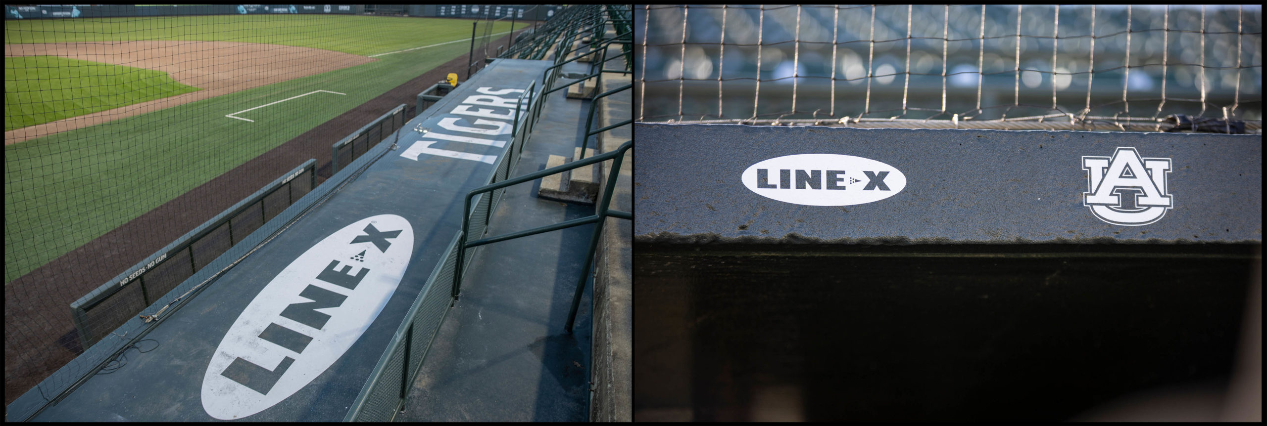 LINE-X restored the roofs and facia of the baseball dugouts at Samford Stadium-Hitchcock Field at Plainsman Park at Auburn Unive